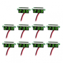 10 PCS 0.36 inch 2 Wires Digital Voltage Meter, Color Light Display, Measure Voltage: DC 2.5-30V(Green)