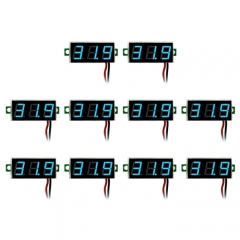 10 PCS 0.28 inch 2 Wires Adjustable Digital Voltage Meter, Color Light Display, Measure Voltage: DC 2.5-30V (Blue)