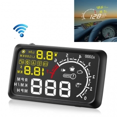 X3 Bluetooth 5.5 inch Car OBDII / EUOBD HUD Vehicle-mounted Head Up Display Security System, Support Speed & Fuel Consumption, Overspeed Alarm, Water Temperature, etc(Black)