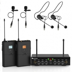 FIFINE K038 UHF Wireless Microphone System with 2 Headsets & 2 Lapel Lavalier Microphone for Teaching Speech (Black)