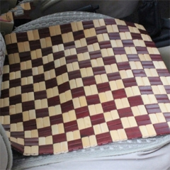 Spell Color Square Bamboo Car Seat (Colour: Yellow and  Claret)
