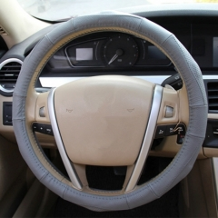 Leather Steering Wheel Cover (Colour: Gray, Adaptation Steering wheel diameter: 38cm)