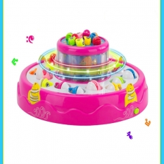 Children'S Music Electric Fishing Toys Double Magnetic Fishing Puzzle Lights Toys (Colour: Pink)