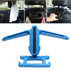 Creative Multi-functional Auto Car Seat Hanger Holder Hooks Clips for Bag Purse Cloth, Safety Handle (Blue)