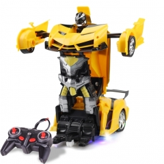 1023 4 Channels Remotely Deformed Car Toy Car(Yellow)