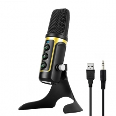 RODD Warrior USB ECHO Sound Recording Condenser Microphone with Holder, Compatible with PC / Mac for Live Broadcast Show, KTV, etc.(Gold)