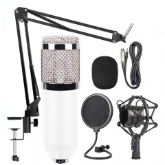 BM-800 Mic Kit Condenser Microphone with Adjustable Mic Suspension Scissor Arm, Shock Mount and Double-layer Pop Filter, For Studio Recording, Live Broadcast, Live Show, KTV, etc.(White)