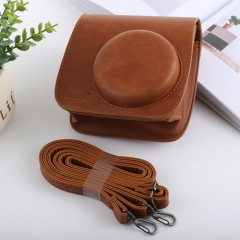 Retro Style Full Body Camera PU Leather Case Bag with Strap for FUJIFILM instax mini 9 / mini 8+ / mini 8(Brown)