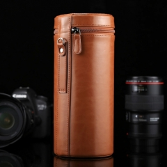 Extra Large Lens Case Zippered PU Leather Pouch Box for DSLR Camera Lens, Size: 24.5*10.5*10.5cm(Brown)