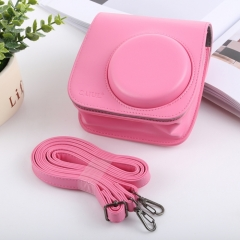 Retro Style Full Body Camera PU Leather Case Bag with Strap for FUJIFILM instax mini 9 / mini 8+ / mini 8(Pink)