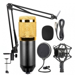 BM-800 Mic Kit Condenser Microphone with Adjustable Mic Suspension Scissor Arm, Shock Mount and Double-layer Pop Filter, For Studio Recording, Live Broadcast, Live Show, KTV, etc.(Black)
