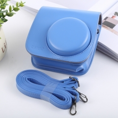 Retro Style Full Body Camera PU Leather Case Bag with Strap for FUJIFILM instax mini 9 / mini 8+ / mini 8(Blue)