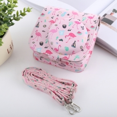 Watermelon Flamingo Pattern Full Body Camera PU Leather Case Bag with Strap for FUJIFILM instax mini 9 / mini 8+ / mini 8