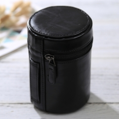 Medium Lens Case Zippered PU Leather Pouch Box for DSLR Camera Lens, Size: 13x9x9cm(Black)