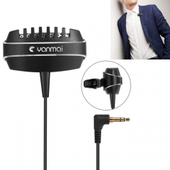 Yanmai R999 Recording Clip-on Lapel Mic Lavalier Omni-directional Dual Condenser Microphone, Compatible with PC/iPad/Android and other Smartphones, for Live Broadcast, Show, KTV, etc (Black)