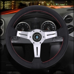 Metal + Leather Car Small Wavy Grip Modified Racing Sport Horn Button Steering Wheel, Diameter: 34cm (Black Silver)
