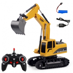 258-1 6 Channel 2.4G 1/24RC Remote-controlled Engineering Metal Excavator Charging RC Car