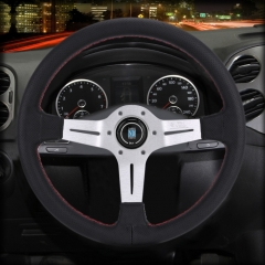 Metal + Leather Car Modified Racing Sport Horn Button Steering Wheel, Diameter: 35cm (Black Silver)