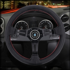Metal + Leather Car Small Wavy Grip Modified Racing Sport Horn Button Steering Wheel, Diameter: 34cm (Black)