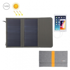 HAWEEL 14W Foldable Solar Panel Charger with 5V / 2.1A Max Dual USB Ports
