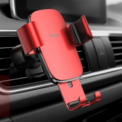 Baseus Universal Car Air Vent Mount Aluminum Alloy + ABS Clamp Phone Gravity Holder Stand, For iPhone, Galaxy, Sony, Lenovo, HTC, Huawei and other Smartphones(Red)