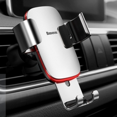 Baseus Universal Car Air Vent Mount Aluminum Alloy + ABS Clamp Phone Gravity Holder Stand, For iPhone, Galaxy, Sony, Lenovo, HTC, Huawei and other Smartphones(Silver)