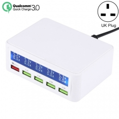 40W QC3.0  2.4A  4-USB Ports Fast Charger Station Travel Desktop Charger Power Adapter with LCD Digital Display, UK Plug