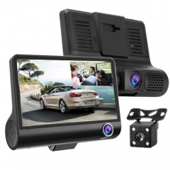 4.0 inch IPS Screen 5.0 Mega Pixels 170 Degrees Wide Angle Full HD 1080P Exclusive 3 Channels Video Car DVR, Support Night Vision Fill Light / Reversing Visual / TF Card(32GB Max) / G-sensor / Motion