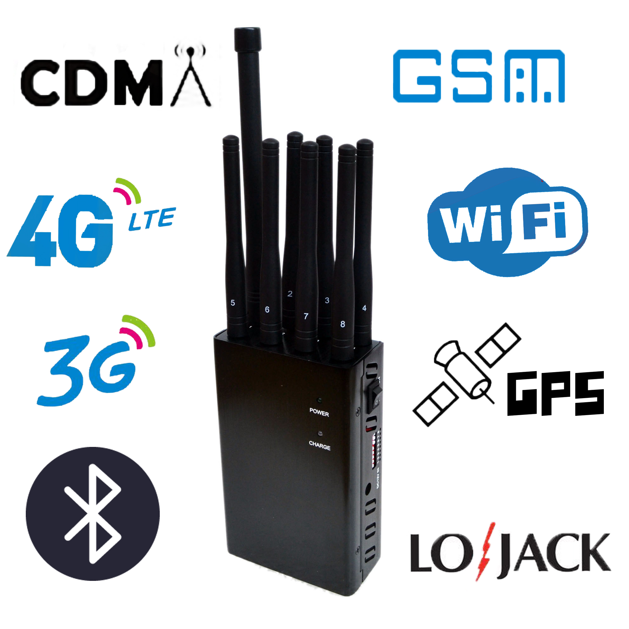 8 Antennas Handheld Cell Phone Isolator, Block 2G/3G/4G and LOJACK GPS WIFI Signals,jaming radius up to 20meters , 4000mAh (4W)