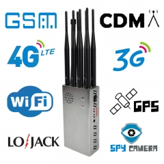 8 Antennas Portable Full Bands Mobile Phone 4G Signal Breaker,WiFi GPS LOJACK Spy camera Isolator,Jaming radius up to 40 meters , 8000mAh (8W)