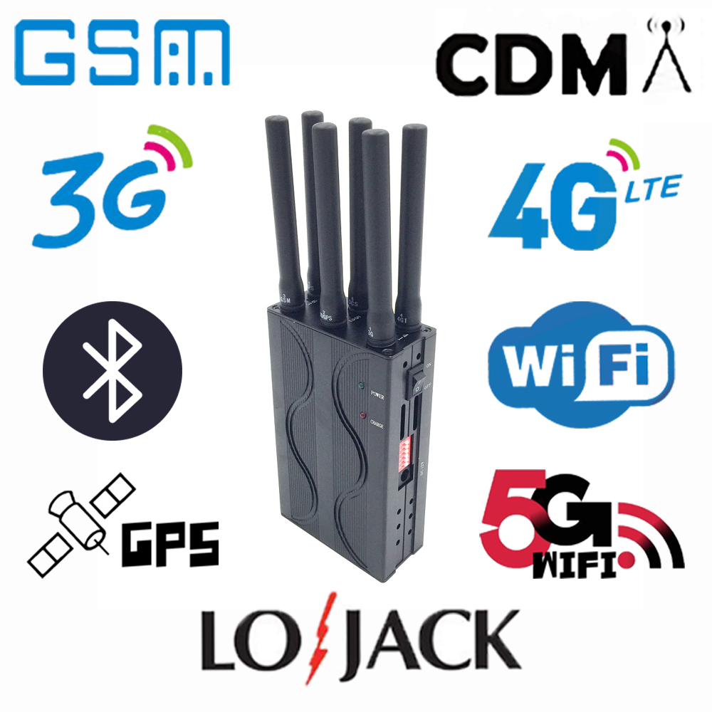 Handheld Lightweight Portable Six-channel Car GPS Signal Blockers WIFI Shielding Device Lojack Scrambler 2G/3G/4G Interceptors