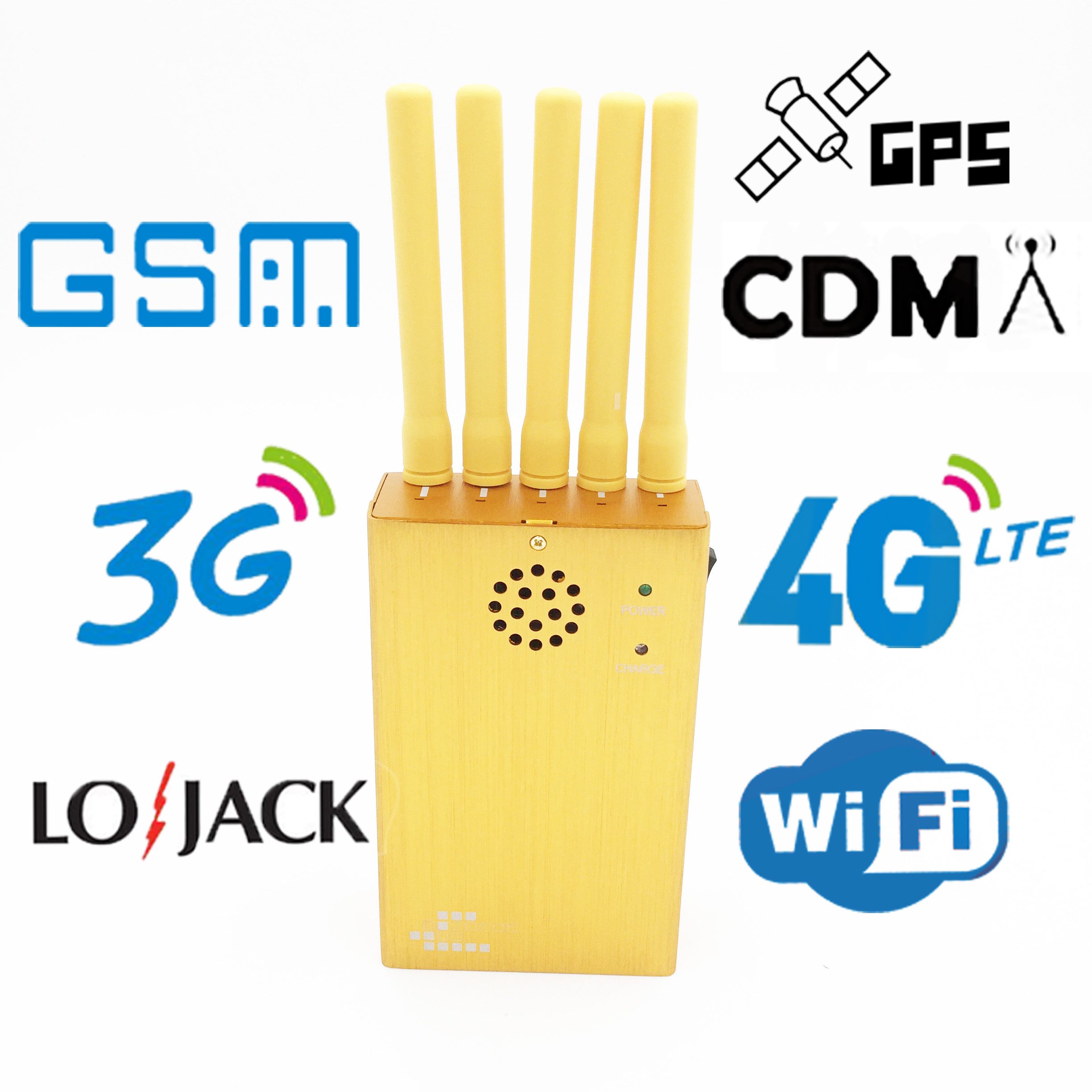 5 Antennas Handheld Cell Phone Isolator, Blcok 2G/3G/4G or LOJACK GPS WIFI Signals, Coverage: 20m (JAX-121B-5) Gold