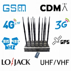 Powerful Cellphone WIFI GPS LOJACK UHF VHF signal isolator with 12 Antennas indoor using adjustable 70W output power jamming up to 80m