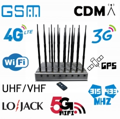 World First 16 bands all-in-one powerful cellphone WIFI 5G GPS LOJACK UHF VHF signal Isolator with 16 Antennas indoor using adjustable 108W output power jamming up to 100M