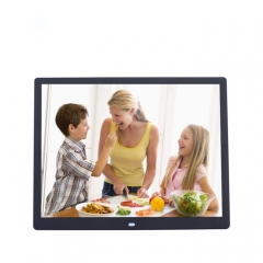 15-inch Digital Photo Frame Electronic Photo Frame Ultra-narrow Side Support 1080P Wall-mounted Advertising Machine(Black)