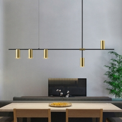 LED Chandelier Gold Black Simple Modern Kitchen Island Long Hanging Light Dining Bar Office Coffee Restaurant Pendant Lamp