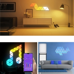DIY Bluetooth APP music control smart addressable 9pcs triangle kits magic RGB led panel light