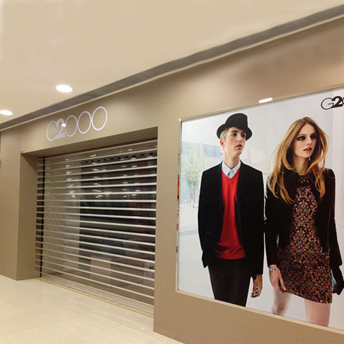 Polycarbonate rolling shutters for G2000 shopfront | PC100