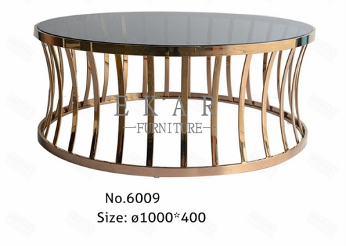 Environmental Small Round Stainless Steel Coffee Table with Glass Top