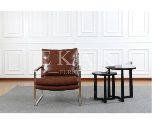 Modern Simple Fashional Designed Cool-colored Metal and Leather Conference Leisure Armchair