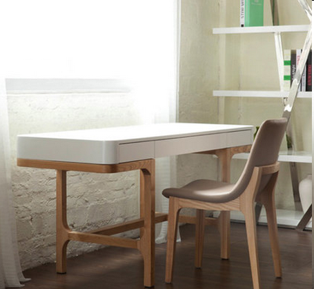 White Ash Wood Home Office Desk