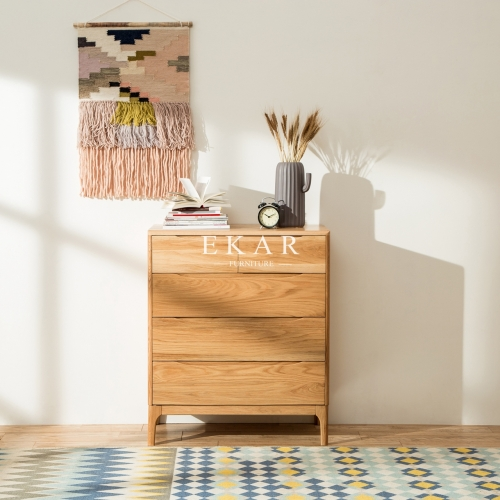 Nordic Design Oak Wood Modern 5 Drawer Chest
