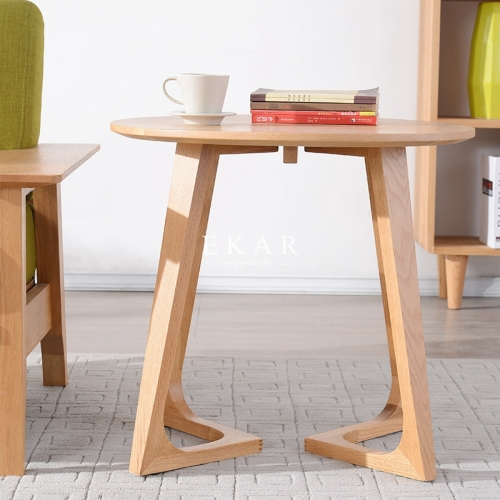 Round Wood Coffee Table For Hotel For House Oak Wooden Simple Modern Style