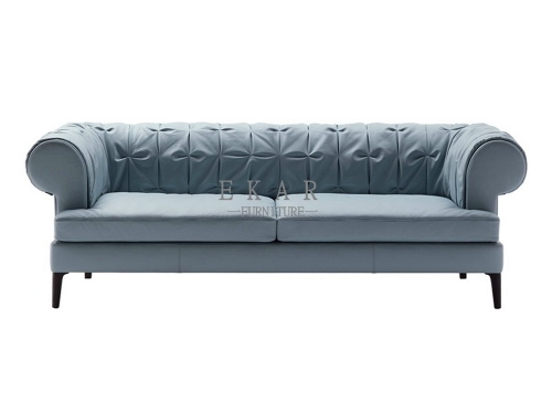 Small Blue Tuted Couch 3 Seater Sofa
