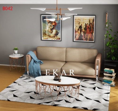 Reception Leather Linen Design 2 Seater Sofa