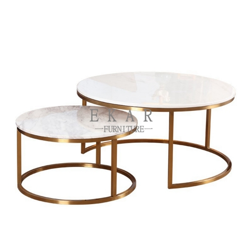 Round Brass Coffee Table Set Design