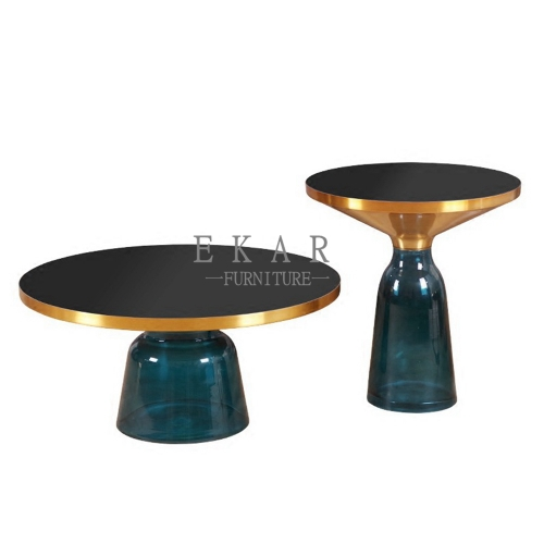 Black Round Glass Coffee and Side Table Set