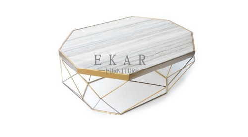 Glass Top Marble Top Living Room Coffee Table