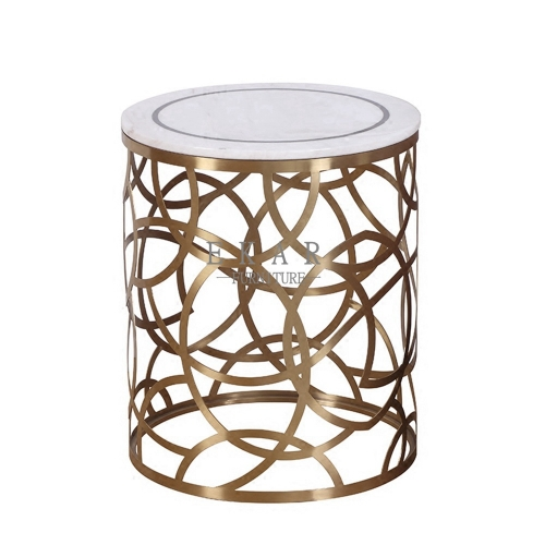 Living Room Metal Coffee Set Modern White Side Table