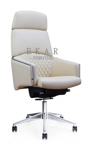 Swiveling Genuine White Leather Office Chair 150KG